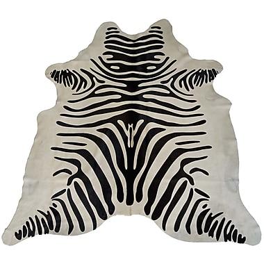Trophy Room Stuff Designer Cowhides Printed Zebra Black/White Area Rug