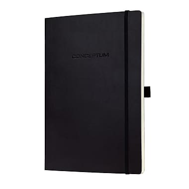 Sigel Softcover Lined Notebook - A4 Extra Large Size with Elastic Closure, Black (SGA4SEL-BK)