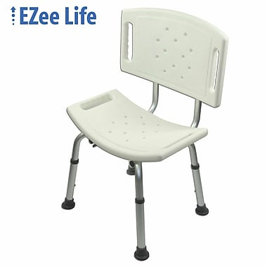 Ezee Life (CH1060Q) Bath and Shower Chair with Back, White