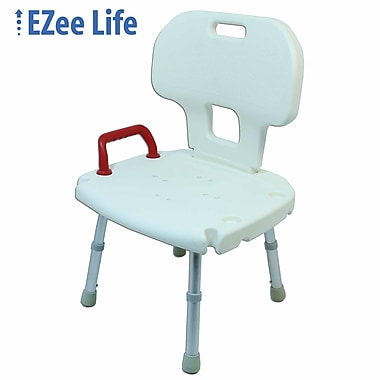 Ezee Life (CH1064) Bath and Shower Chair, with Back and Red Handle