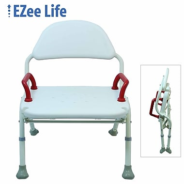 Ezee Life (CH1065) Folding Bath and Shower Chair, with Back and Red Handles