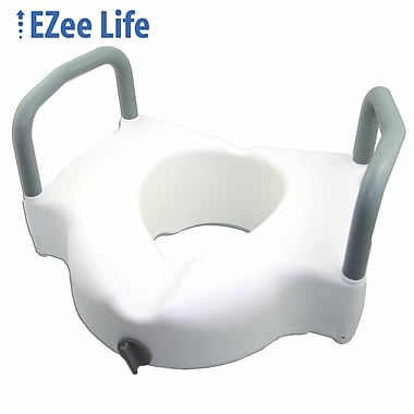 EZee Life - Siège de toilette surélevé de 4 po avec accoudoirs (CH2025), blanc