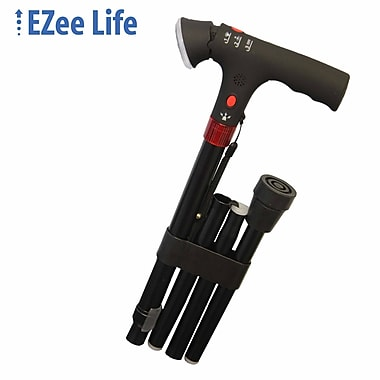 Ezee Life (CH2047-BK) Tall-Folding Cane with Light and Alarm, Black