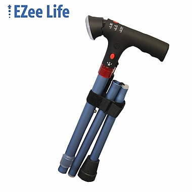 Ezee Life (CH2046-BLU) Short-Folding Cane with Light and Alarm, Blue