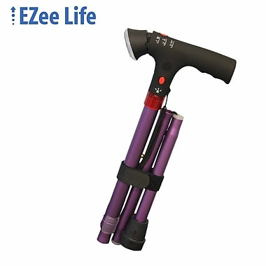 Ezee Life (CH2046-P) Short-Folding Cane with Light and Alarm, Purple