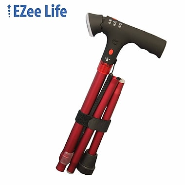 Ezee Life (CH2047-R) Tall-Folding Cane with Light and Alarm, Red