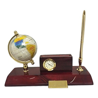 Elegance Executive Desk Set, Globe, Cardholder, Clock & Pen Stand