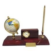 Elegance - Ensemble de bureau : globe, porte-cartes, horloge et porte-stylo