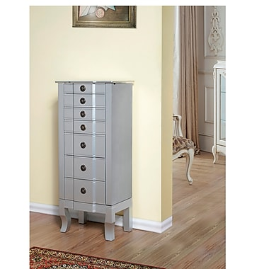 W Unlimited Alley Jewelry Armoire, Silver Lining