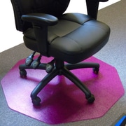 Floortex 9Mat 39''x38'' Polycarbonate Chair Mat for Carpet & Hard Floor, Circular, Cerise Pink (FC111001009RC)