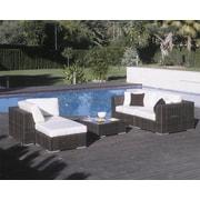 Hospitality Rattan Soho 5 Piece Deep Seating Sectional w/ Sunbrella Cushions; Canvas Canvas