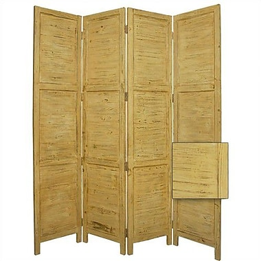 Screen Gems 84'' x 76'' Nantucket Painted 4 Panel Room Divider; Yellow