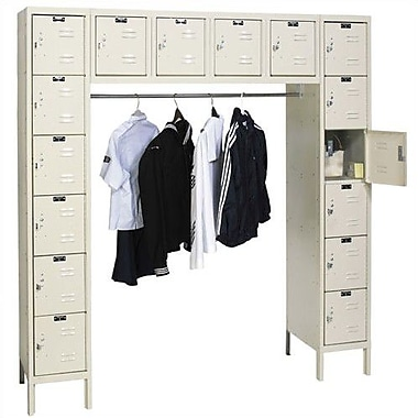 Hallowell Premium 6 Tier 6 Wide Employee Locker; Parchment