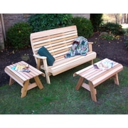 Creekvine Designs Cedar Twin Ponds Bench Set; Cedar Stain/Sealer
