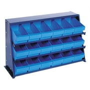 Quantum Bench Pick Rack Storage Systems w/ Various Euro Bins; Blue