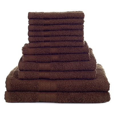 Lavish Home 12 Piece 100% Cotton Towel Set - Chocolate