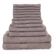 Lavish Home 12 Piece 100% Cotton Towel Set - Taupe