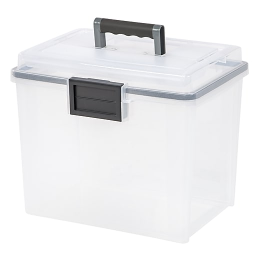 IRIS® Letter Size Portable Clear Weathertight File Box, 4 Pack (110350)