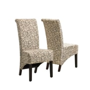 "Monarch Specialties 2-Piece 40""H swirl Fabric Dining Chair, Tan (I 1789TN)"