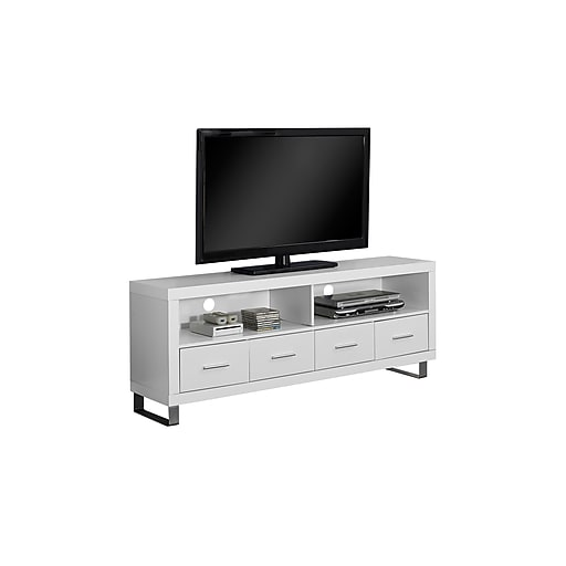 Monarch Specialties 60 L Tv Stand With 4 Drawers White I 2518