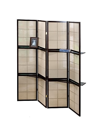 Monarch Specialties 4-Panel Folding screen with 2 Display shelves, Cappuccino (I 4624)