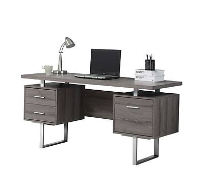 Monarch Specialties 60L Computer Desk Dark Taupe Silver Metal