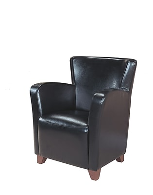 Monarch Specialties Leather-Look Fabric Accent Chair, Black (I 8067)