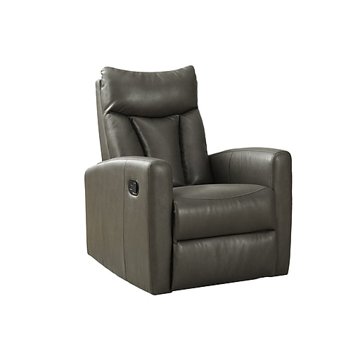 monarch specialties bonded leather recliner swivel glider charcoal