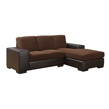 Monarch Specialties Corduroy and Leather-Look Sofa Lounger, Dark Brown and Brown (I 8200BB)