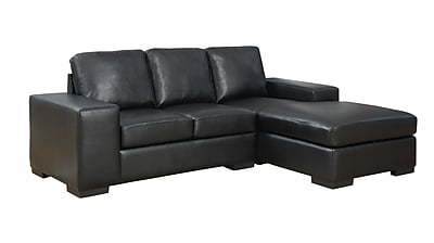 Monarch Specialties Bonded Leather Sofa Lounger, Black (I 8200BK)