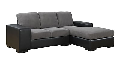 Monarch Specialties Corduroy Sofa Lounger with Leather-Look, Grey/Black (I 8200GB)