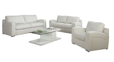 Monarch Specialties Bonded Leather Love Seat, White (I 8502WH)