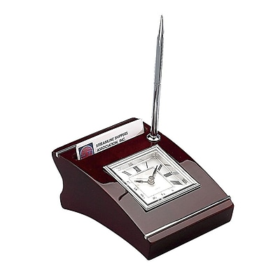 Elegance Wood Clock With Cardholder & Pen