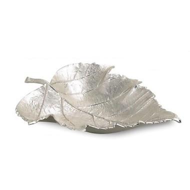 Elegance – Assiette en feuille d'érable faite d'aluminium plaqué nickel