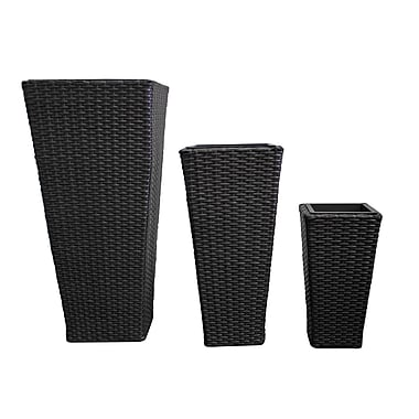 Blooms 3-Piece Plastic Flower Pot, Black