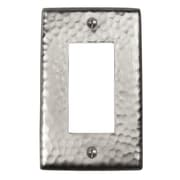 The Copper Factory Hammered Copper Single GFCI Plate; Satin Nickel