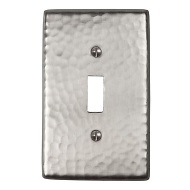 The Copper Factory Hammered Copper Single Switch Plate; Satin Nickel
