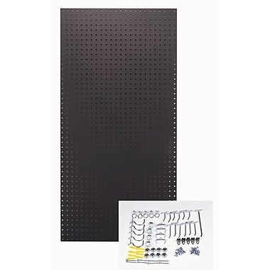 Triton Products Custom Painted Heavy Duty Tempered Round Hole Pegboards; Black