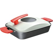 UchiCook 15.75'' Metal Cover Non-Stick Steam Grill; Red