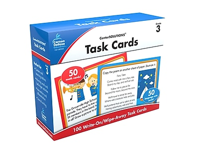 Carson-Dellosa™ CenterSolutions® Write-On/Wipe-Away Task Cards, Grade 3