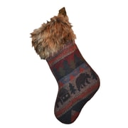 Wooded River Cabin Bear Christmas Stocking