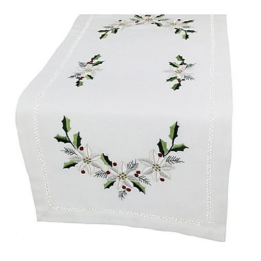 Xia Home Fashions Country Poinsettia Embroidered Hemstitch Table Runner; 0.2'' H x 48'' W x 12'' L