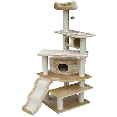 Go Pet Club 70'' Faux Fur Cat Tree; Beige