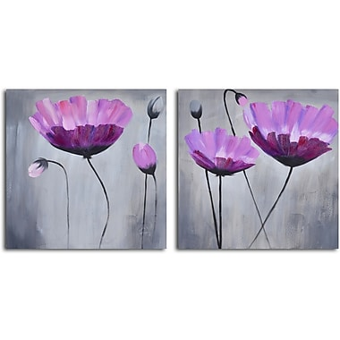 My Art Outlet 'Ethereal Pink Blooms' 2 Piece Original Painting on Wrapped Canvas Set