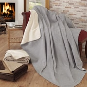 Ottomanson Soft Cozy Fleece Blanket; Gray / Ivory