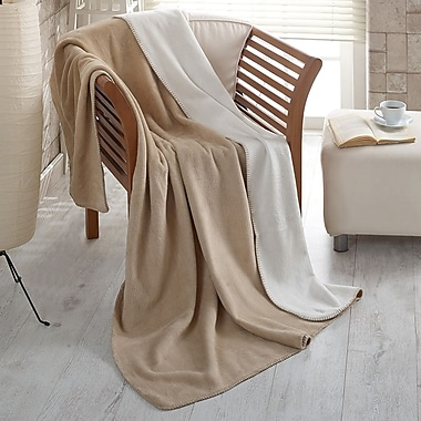 Ottomanson Soft Cozy Fleece Blanket; Beige / Ivory