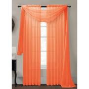 Window Elements Diamond Curtain Sheer Single Panel Scarf; Orange