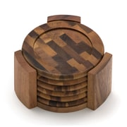 Lipper Acacia Coasters, 7 Pieces/Set (1134)