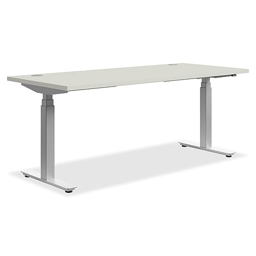 HON® Height Adjustable Worksurface T-Shaped Table Base, 2 Legs, Silver/ Steel (HONHAB3S24F)