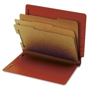 "Globe Weis End Tab Pressboard Classification Folder,Letter,3.50"" Expansion,2 Fastener(s),Red,Recycled,10 / Box (PFX23865GW)"